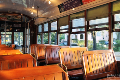 Inside the streetcar.