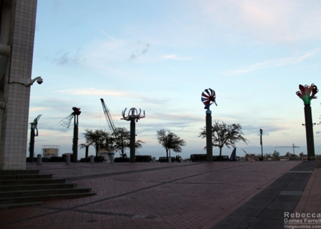 Aquarium sculptures at sunset.