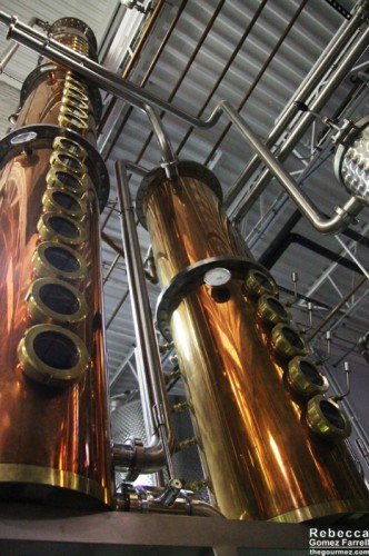 Whisky rectifier on the right and vodka rectifier on the left. The vodka is much taller because it requires more distillation.