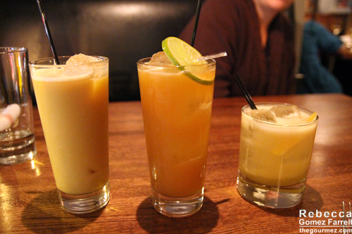Smashing Pumpkin on the left, Friend #1's drink in the middle, and my husband's Wiessen Sour on the right.